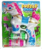 Light Up White Pony Bubble Gun With Sound Endless Toy Bubbles Maker Machine