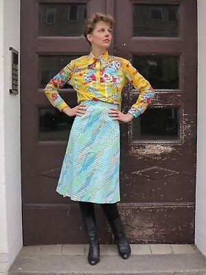 Donna Gonna Gonna Al Ginocchio Per Turchese Giallo Bianco 70er Truevintage 70s Ladies Skirt-mostra Il Titolo Originale Vivace E Grande Nello Stile