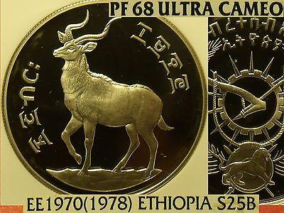 1978 Äthiopien Ee1970 25 Bir Ngc Pf-68 Uc ~bergnyala ~3,295 Minted~ Pop = 2 To Invigorate Health Effectively