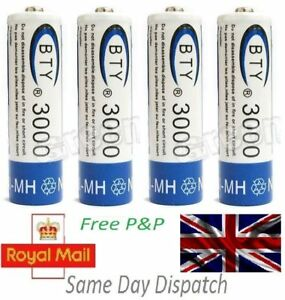 1/2/4x AA 3000mAh Ni-MH rechargeable battery cell high capacity UK seller
