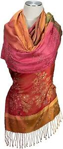 Soir-echarpe-100-Soie-Silk-Brode-Evening-Stole-Embroidered-Multicolore-Rouge