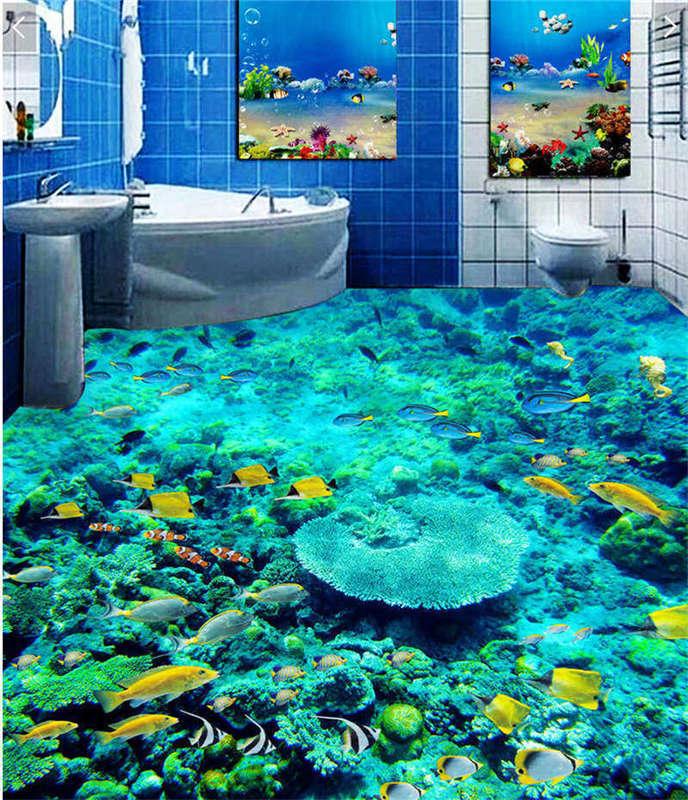 Cute Little Fish 3D Floor Mural Photo Flooring Wallpaper Home Print Decoration