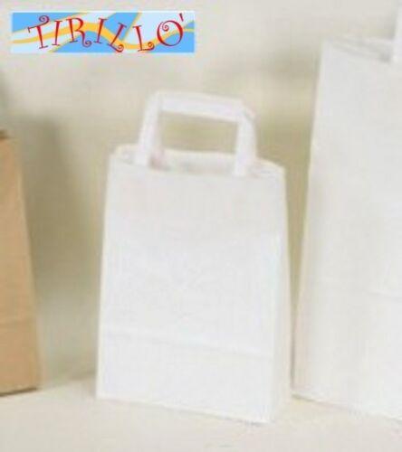 bianco 20 shopper sacchetti di carta con manici di carta 18x25cm