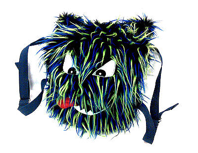 Backpack Burning Man Monster Black W/ Green and Blue Spikes Halloween New Years