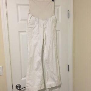Medium-Motherhood-Maternity-White-Khaki-Pants-Full-Panel-97-Cotton