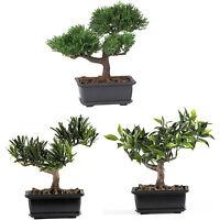 Silk Bonsai Trees Set 3 Decorative Plants Black Potted Faux Trees Home Floral