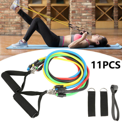 11er Fitnessbänder Resistance Expander Set Tube Gymnastikbänder Yoga Latexband d