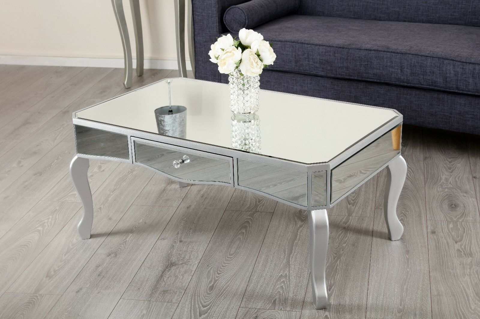 Add Elegance To Any Room With This Silver Mirrored Coffee Table Its Crystal Handles And Shiny Finish Piece Is Perfect Brighten Up