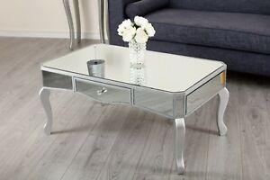 Mirrored Coffee Table Storage Drawer Mirror Shabby Chic Living Room - Mirrored coffee table with storage