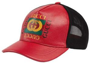d0d72923a5257 NEW GUCCI HIBISCUS RED LEATHER VINTAGE PRINT LOGO BASEBALL HAT CAP ...