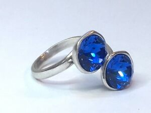 Cristal-Azul-Anillo-Swarovski-Elements-Silver-Plated-ZAFIRO-ajustable