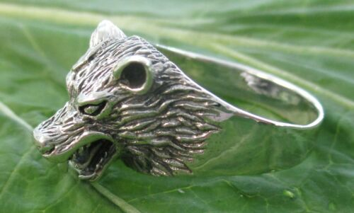 """REAL 925 sterling silver /""""Wolf/"""" plain oxidised  Ring size O1//2 to U1//2 BOY MEN"""
