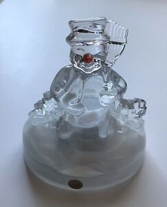 Beautiful-Genuine-Lead-Crystal-Snowman-Music-Box-Frosty-the-Snowman-Tune-France