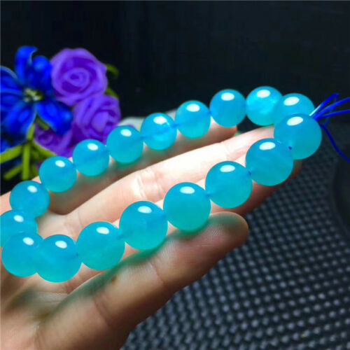 1112mm Natural Blue Aquamarine Gemstone Crystal Beads Bracelet