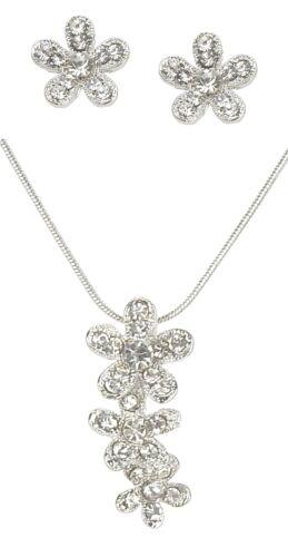 Plata De Diamantes Imitación Cadena + PENDIENTES by Ella Jonte flores COLLAR +