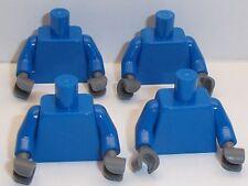 Lego Blue Torso's x 4 with Dark Stone Grey Hands for Miinifigure