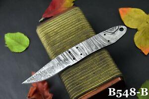 "Custom 7.00"" OAL Damascus Steel Blank Blade Hunting Knife Handmade (B548-B)"