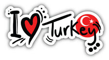 I Love Turkey Slogan Car Bumper Sticker Decal Sizes