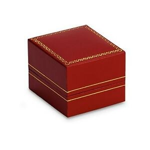 CLASSIC RED LEATHERETTE SINGLE RING JEWELRY BOX WITH GOLD TRIM 12