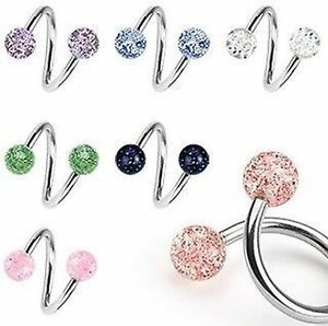 Surgical-Steel-Glitterballs-Spiral-Twist-Belly-Navel-Bar-14GA-1-6mm-10mm