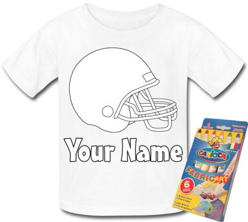 GIFT /& NAMED AMERICAN FOOTBALL HELMET PERSONALISED  COLOUR ME IN T-SHIRT