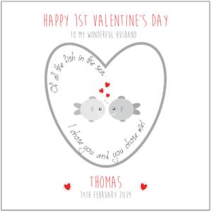 Personalised First Valentines Card Fish in Sea Husband Wife Girlfriend Boyfriend