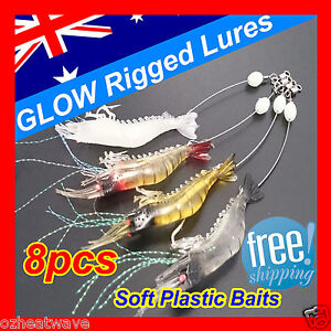 8x-GLOW-Rigged-Prawn-Shrimp-Fishing-Lures-Soft-Plastic-Baits-Lure-Flathead-Bream