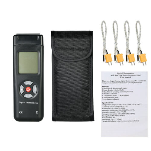 4-Channel K-Type TL-TK04 Digital Data hold Thermometer Thermocouple Sensor F2P1
