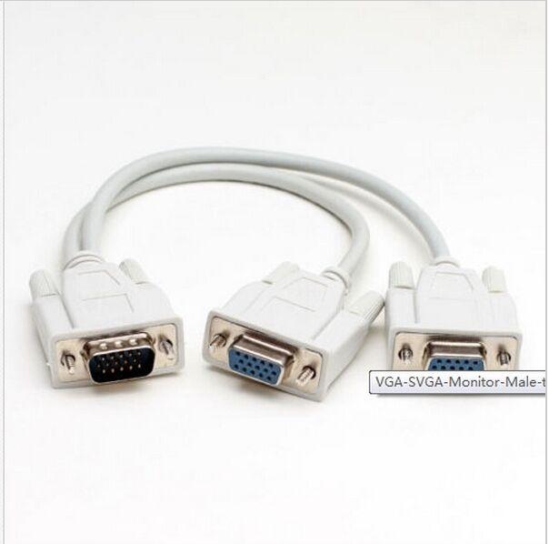 VGA SVGA Monitor Stecker auf 2 Dual Female Y Adapter Splitter Kabel 15  FJD