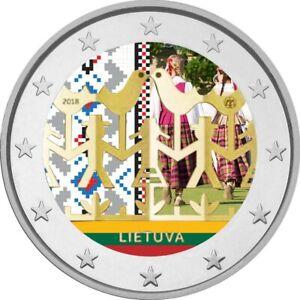 2-Euro-Gedenkmuenze-Litauen-2018-Tanzfestival-coloriert-mit-Farbe-Farbmuenze