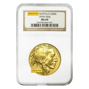 1 oz $50 Gold American Buffalo NGC/PCGS MS 69 (Random Year)