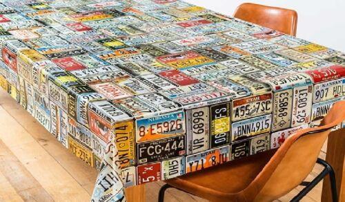 Toile Cirée Nappe Table au Mètre Carré Rond Oval USA Plaques D/'Immatriculation