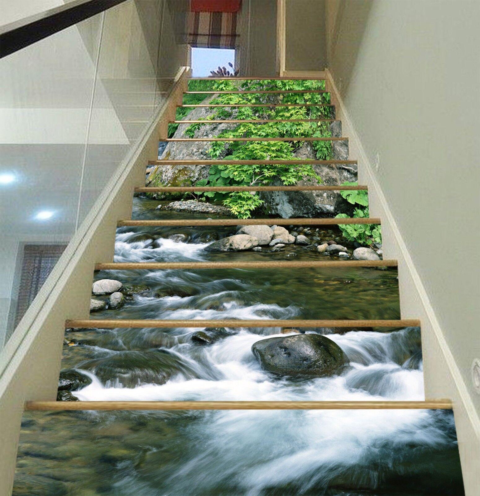 3D Klarer Fluss 277 Stair Risers Dekoration Fototapete Vinyl Aufkleber Tapete DE