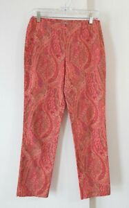 womens-multi-color-J-JILL-pants-slim-skinny-cotton-stretch-paisley-side-zip-XS-2
