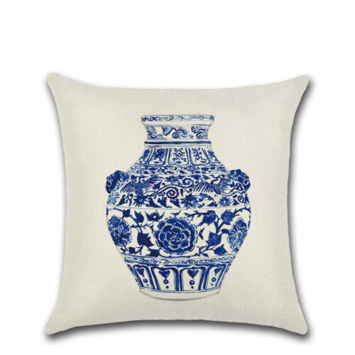 Bleu et blanc porcelaine Coton Lin Housse De Coussin Throw Pillow Case Home Decor