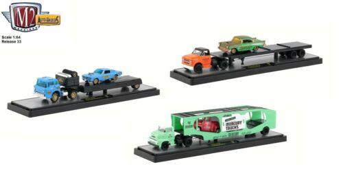 New M2 Machines Auto Haulers Release 33 Premium 1:64 Scale Diecast Trucks /& Cars