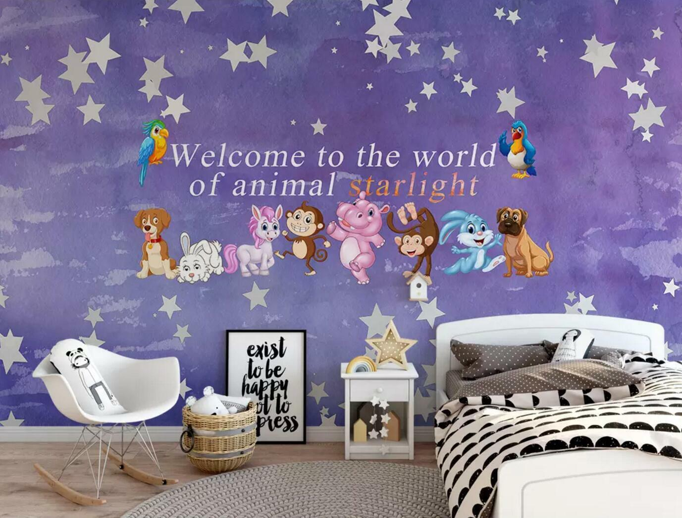 3D Animal World Cartoon 5 Wall Paper Exclusive MXY Wallpaper Mural Decal Indoor