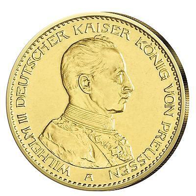 Kaiserreich Goldmünze 20 Mark Kaiser Wilhelm II. in Uniform 1913-1914 J.253