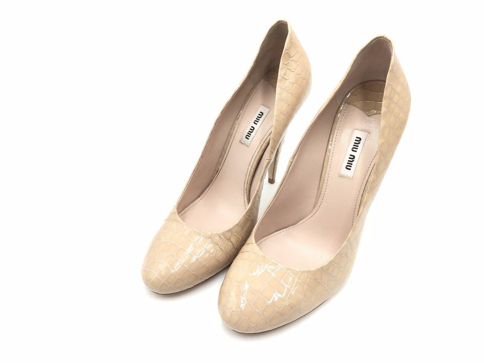 2250 MIU MIU Cuero Para Mujer Beis Beis Beis Zapatos De Taco Alto Punta bombas de serpiente 40 10 nos  alta calidad