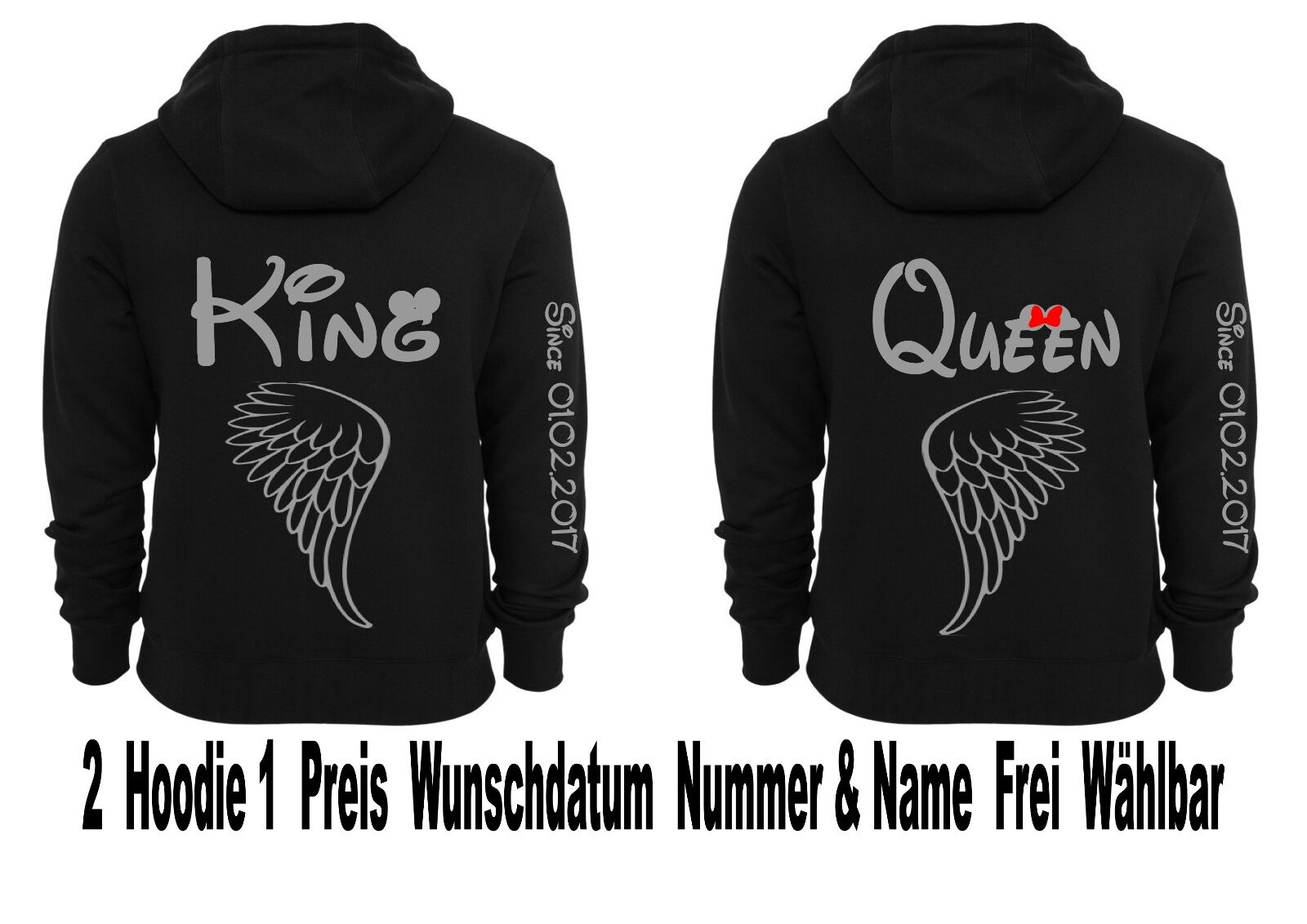 sweat à capuche Pull KING QUEEN pression partenaires Look Angel Wings Ange Ailes Xs - 5xl