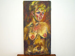 MID-CENTURY-MODERN-EXPRESSIONIST-NUDE-LADY-OIL-ON-CANVAS-PAINTING