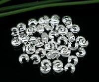 200pc Silver Plated Crimp Bead Covers Findings 5mm(1/4) Jewelry Making Supplies