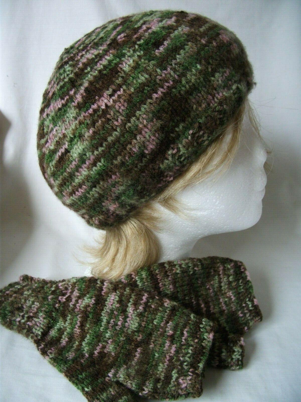 Hand-knitted Beanie & Fingerless Gloves Ref 2380