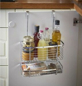 Over Door Organiser Cupboard Hanging Basket 2 Tier Shelves Kitchen Storage Ebay