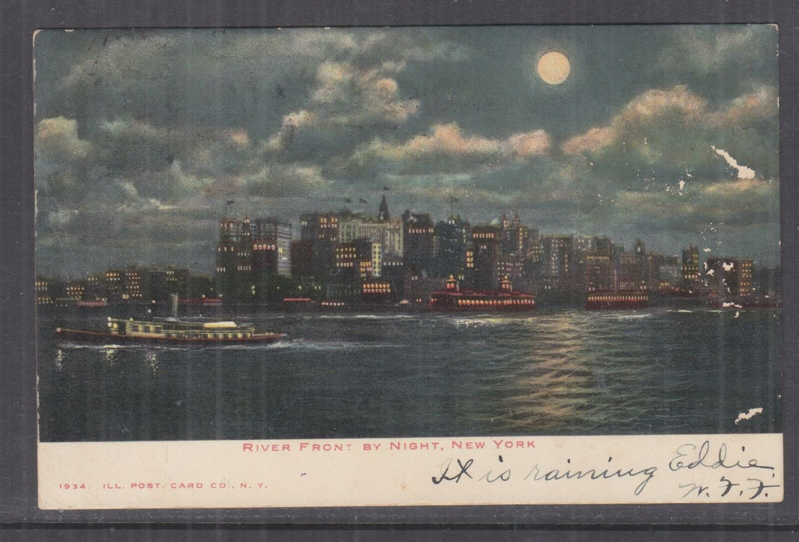 UNITED STATES,1906 ppc New York, River Front by Night, 1c, New York to Allentown