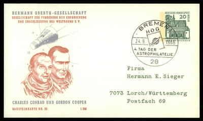 Berlin Privat-ga 1966 Weltraum Space Bausteinlarte 33 Hog Hermann Oberth Ep36 BüGeln Nicht