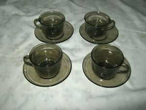 Set-of-4-Vintage-80-039-s-French-Arcoroc-Smoke-Charcoal-Glass-Coffee-Cups-amp-Saucers