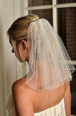 2018 New Beaded Wedding Veil Short White //Ivory Bridal Veils 1T 45cm with comb