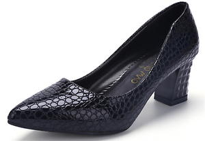 Womens-Pointed-Toe-Court-Pumps-High-Heels-Shoes-Block-Kitten-Spring-OL-Slip-On