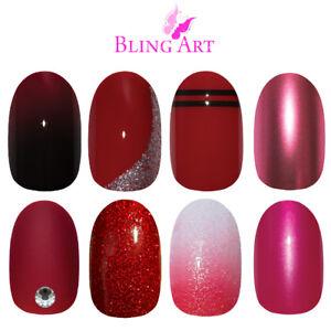 Bling-Art-Oval-False-Nails-Red-Glitter-Gel-Matte-Fake-Medium-Acrylic-Tips-Glue